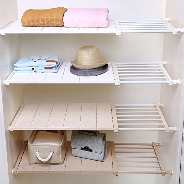HyFanStr Adjustable Storage Rack Expandable Separator Shelf For Wardrobe Cupboard Bookcase Compartment Collecting Length 28 7 51 Width 11 8 White