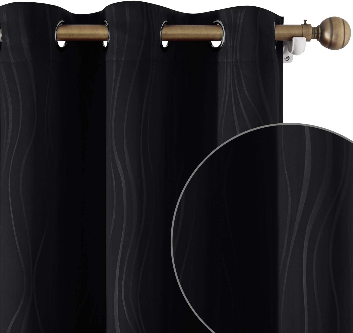HOMEIDEAS Black Blackout Curtains 52 X 96 Don't miss Bombing new work the campaign Length Darke Inch Room