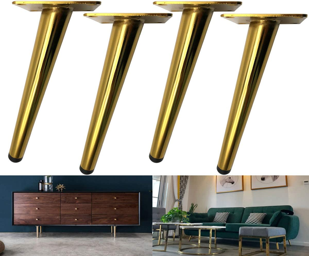 Black Color, 7 Inches,Set of 4 Couch Bikani Golden Sofa Legs Round Solid Metal Furniture Legs Sofa Replacement Legs Perfect for Mid-Century Modern//Great IKEA hack for Sofa Coffee Table Bed