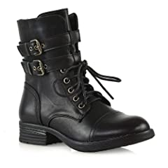 5a0c95537a6 ESSEX GLAM Womens Lace Up Mid Calf Zipper Buckles Combat Military ...