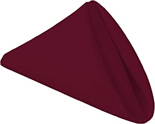 Gee Di Moda Cloth Napkins - 17 x 17 Inch Burgundy Solid Washable Polyester Dinner Napkins - Set of 12 Napkins with Hemmed Edges - Great for Weddings, Parties, Holiday Dinner & More