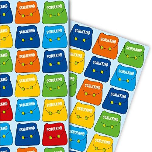 Buntes Einschulungs Geschenkpapier Set (4 Bogen) Dekorpapier mit Schulranzen