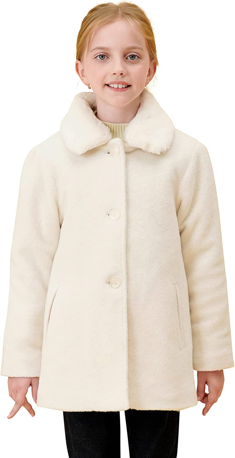 SOLOCOTE Girls Winter Wool Max 43% OFF Dress Quilted Sin Cotton Coat Easy-to-use Peacoat