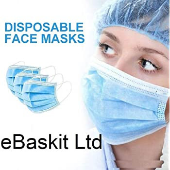 Smasker HCTian 50pcs 3-Ply Disposable Face Mask with Elastic Earloop - 50 Pack Personal Protection Dust-Proof Mask with Standard-Sealed Bag for Earloop