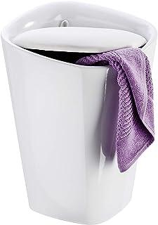WENKO Tabouret de salle de bain Candy blanc rectangulaire - corbeille à linge, avec sac à linge Capacité: 20 l, Plastique...