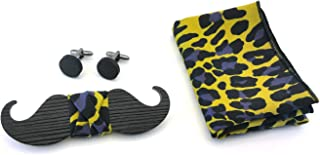 Set Papillon gemelli in legno, fazzoletto da taschino GIGETTO maculato giallo nero viola Made in Italy