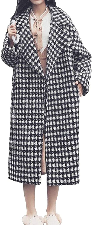 PujinggeCA Womens Overcoat Maxi Houndstooth Woolen Long Thick Jackets Outwears