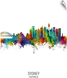 CANVAS ON DEMAND Sydney Australia Skyline Wall Decal, 12