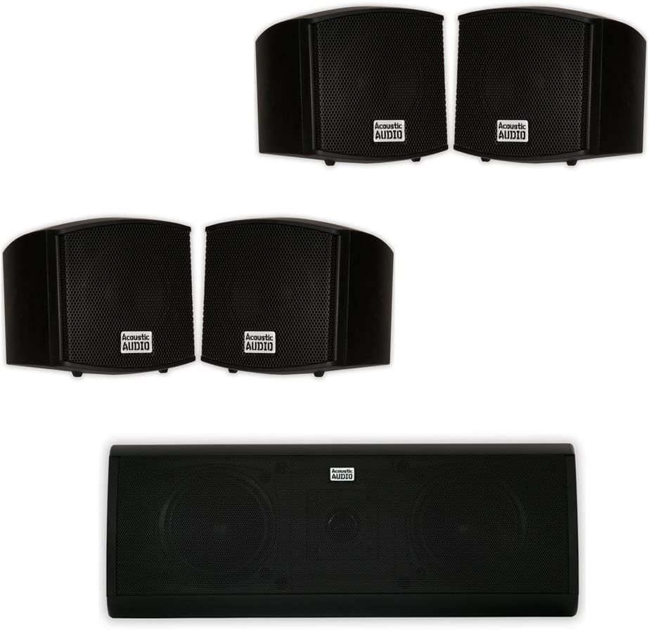 Acoustic Audio AA321B and AA40CB Indoor Speakers Home Theater 5 Speaker Set