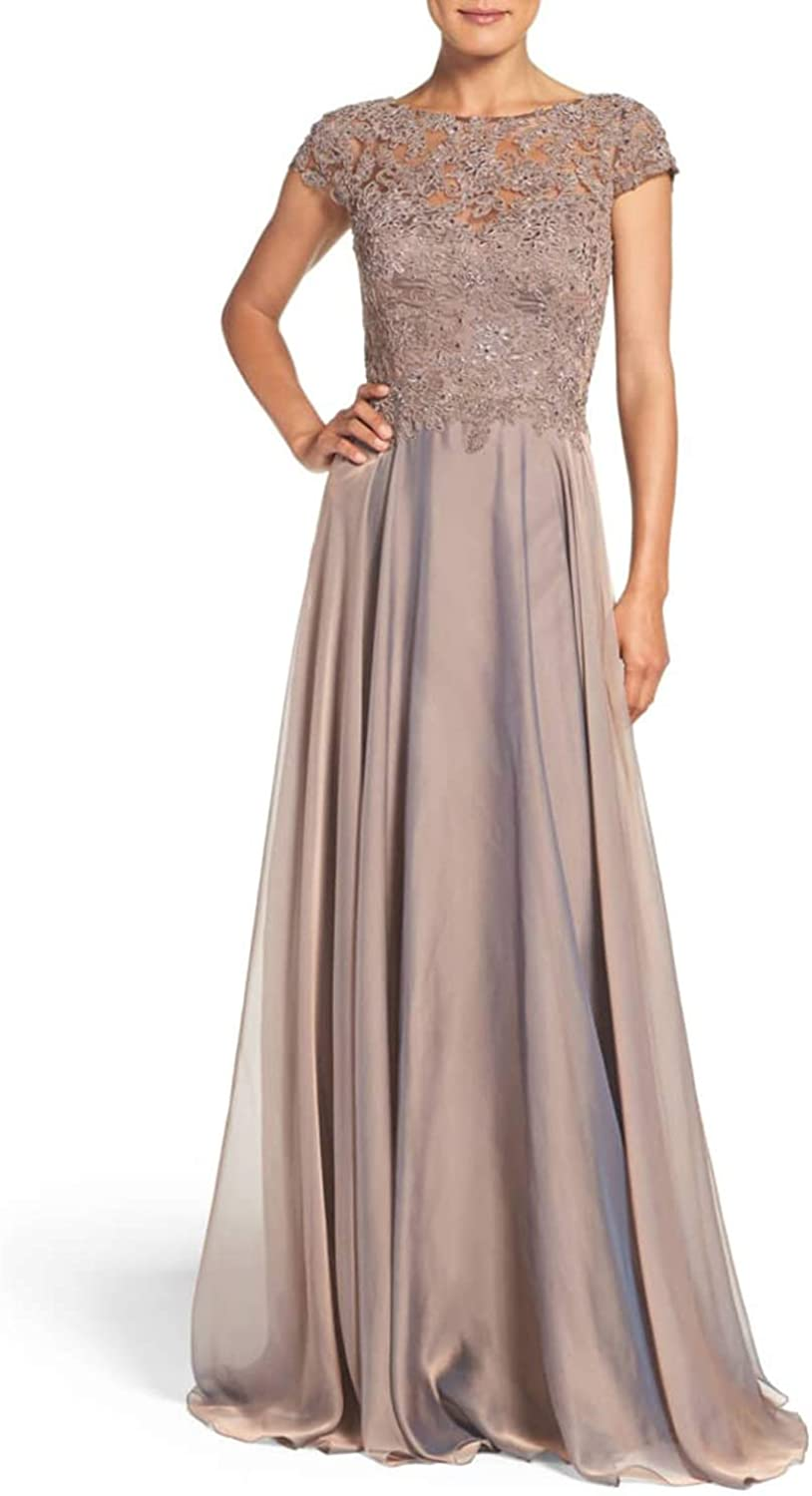 Jerald Norton Ltd Women's Illusion Beaded Lace Applique Evening Gown Mother of The Bride Dress Grey