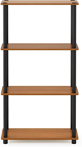 Furinno (99557LC/BK) Turn-N-Tube 4-Tier Multipurpose Shelf Display Rack - Light Cherry/Black