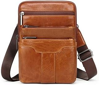 MLpus Men's Messenger Bag Leather Men's Shoulder Bag Vintage Leather Shoulder Bag Multifunction Bag (Color : Yellow)