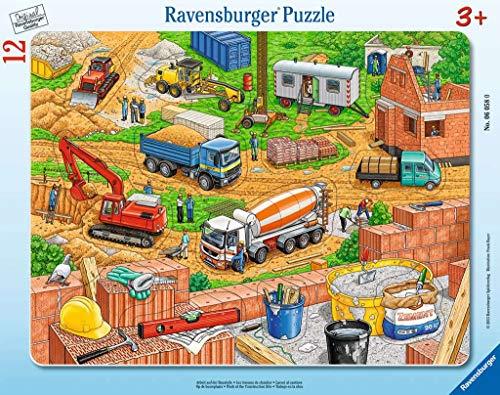 Ravensburger Kinderpuzzle - 06058 Arbeit auf der Baustelle - Rahmenpuzzle für Kinder ab 3 Jahren, mit 12 Teilen