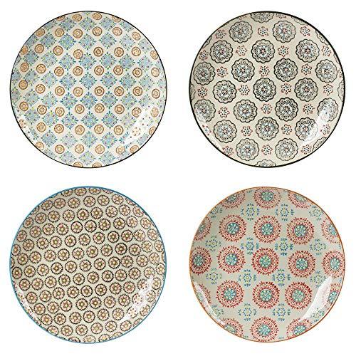 Table Passion - Coffret de 4 assiettes plates décors assortis bohème 26 cm