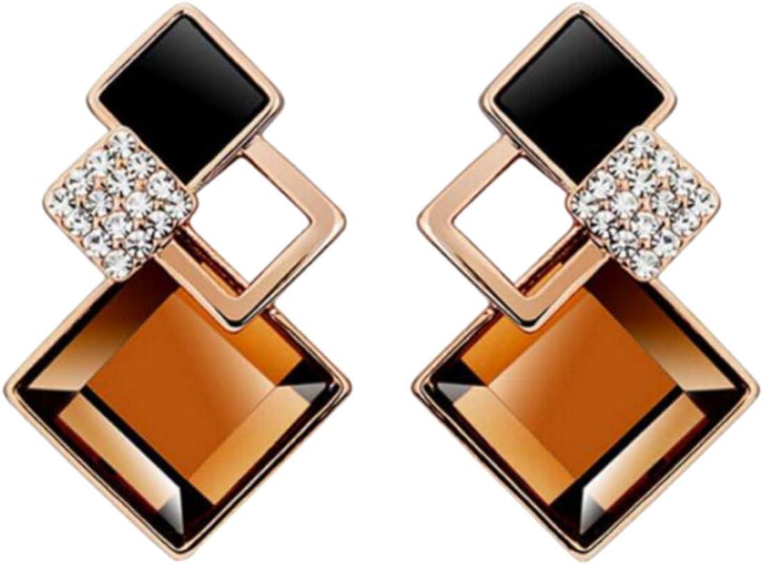 Fashion Women Crystal Square Geometric Drop Dangle Earrings Wedding Jewelry Gift