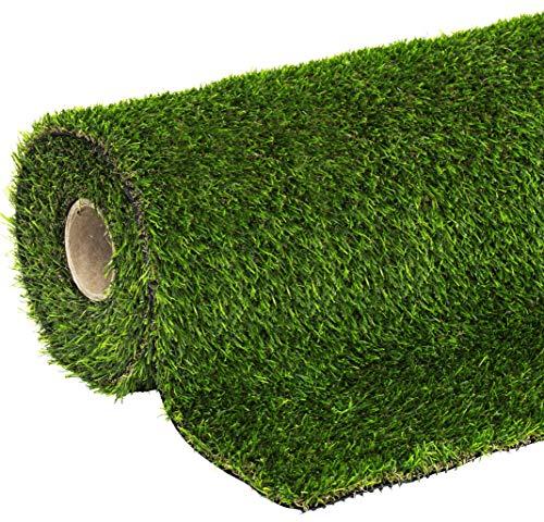 KunstrasenChelsea Rasenteppich 100 x 400 cm wasserdurchlässig mit Drainagefunktion für Balkon und Terrasse, UV-beständig  Florhöhe 25 mm , 06711