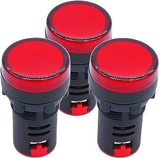 TWTADE/ 3Pcs AC/DC 12V Red Energy Saving LED Indicator Light, Signal lamp, Flush Panel Mount 7/8