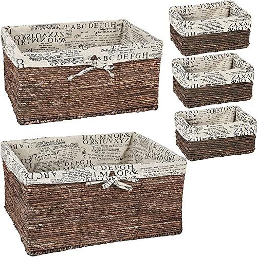 Wicker Basket Woven Storage Baskets (Brown 5 Piece Set)