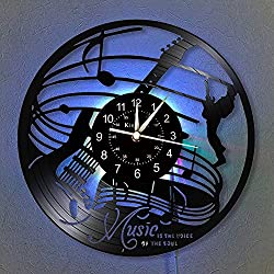 Homie Bay Music Vinyl Record Wall Clock - Musical Instrument LED Light Wall Clock - Guitar Vinyl Clock - Living Room Wall Decor - Unique Gifts for Music Lovers.