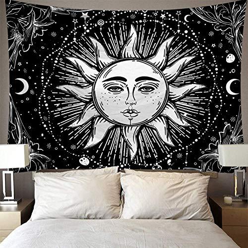 BAOFUFU Tapiz,Negro Sol Blanco Cielo Estrellado.Hippie Bohemian Psychedelic Tapestries Bedspread Decoración para El Hogar Sala De Estar Dormitorio O Decoración