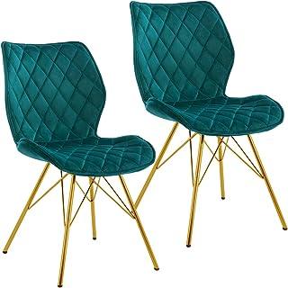 Duhome 2X Silla de Comedor de Tela (Terciopelo) diseño Retro con Brazos Silla tapizada Vintage con Patas de Metallo seleccion de Color 5180J, Color:Verde Azulado, Material:Terciopelo