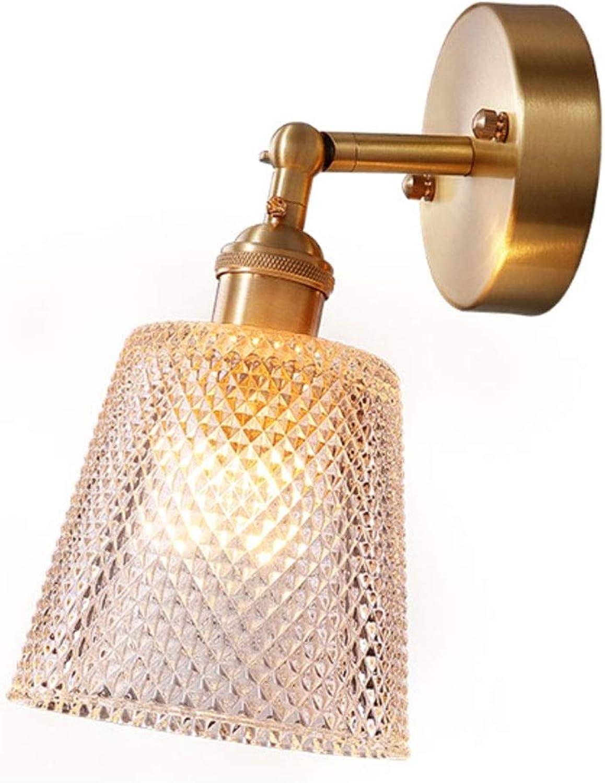ZDD Einfache nordische kupferne Wandlampe, E27 Wohnzimmer-Schlafzimmer-Nachttisch-Korridor-Gang-dekorative Lichter (Farbe   Messing-13x12cm)