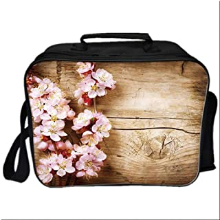 Floral Picnic Bag Cooler Bag,Spring Blossom Orchard Featured Plant on Wooden Board Background Image for Kids Boys Girls,10.6″Lx4.7″Wx8.2″H