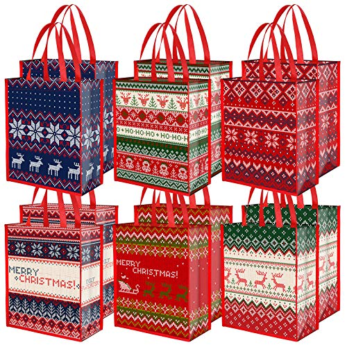 Aneco 12 Pieces Christmas Ugly Sweater Bags Candy Gift Tote Bags Christmas Non-Woven Party Treat Bags 13.8 x 11 x 4.7 Inch for Party Supplies