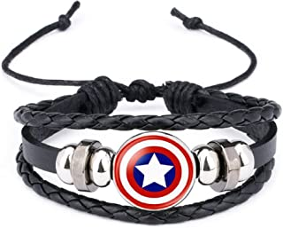 New Horizons Production Marvel's Captain America Shield Logo Glass Domed Braided Leather Bracelet