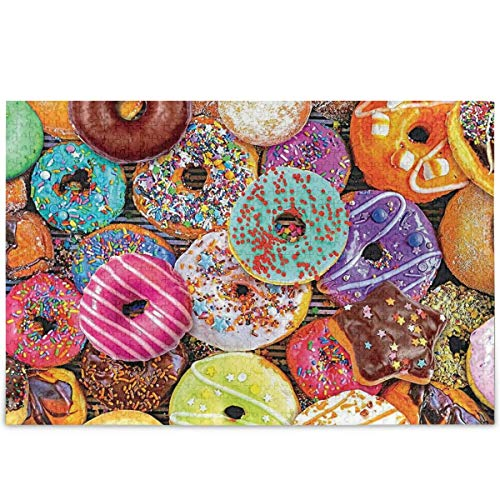 Donuts Chocolate Frosted Jigsaw Puzzle Colorful Glazed Sprinkles 1000 Pieces Puzzles For Children, Stress Relief Puzzle For Adults DIY Family