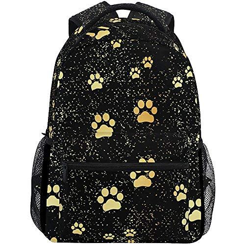 Schoudertas Gouden Zwarte Hond Kat Poot Voetafdrukken Schooltas Gedrukte Schoudertas College Bag Jongens Student College Unieke Meisje Universeel