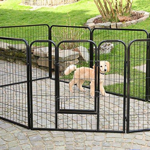 TRESKO® Welpenlaufstall Freilaufgehege Welpenauslauf Hundelaufstall Tierlaufstall Hunde, mit Tür und wetterfester Hammerschlag-Lackierung - 4