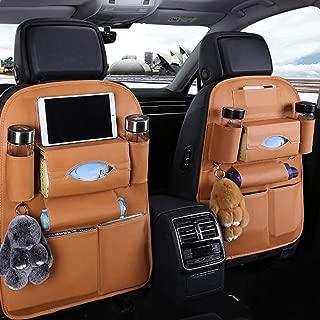 TYSKL Pu Leather Car Seat Back Organizer and Tablet Holder - Universal Use as Car Backseat Organizer for Kids, Storage Bottles, Tissue Box, Toys (Orange, Upgrade 2 Pack)