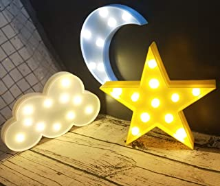 Decorative LED Crescent Moon Cloud and Star Night Lights Lamps Marquee Signs Letters for Baby Nursery Decorations Gifts fo...