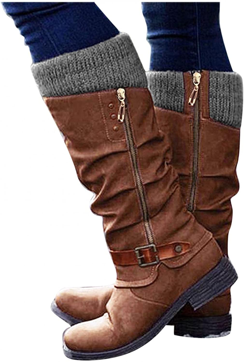 Zieglen Boots for Women, Womens Boots with Suede Wedge Knee High Booties Platform Boots Western Boots Womens Winter Boots