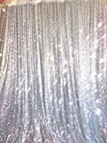 ShiDianYi 4ft X 6ft Silver Sequin Photo Backdrop, Any Size is Acceptable,Wedding Photo Booth,Photography Background,Ceremony Background
