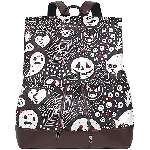 Travel Bags,Halloween Pumpkin Ghost Women's PU Leather Backpack Bookbag School Shoulder Bag