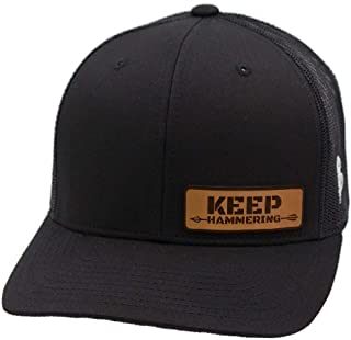 Cameron Hanes 'Keep Hammering' Leather Patch Hat Curved Trucker - OSFA/Black