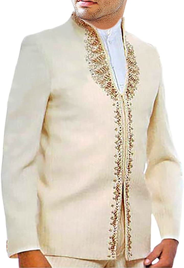INMONARCH Mens Ivory 3 Pc Partywear Suit Embroidered Work JO118