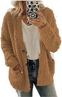 Women Fall Winter Blouse Pocket Sherpa Lined Plus Size Duffle Coats