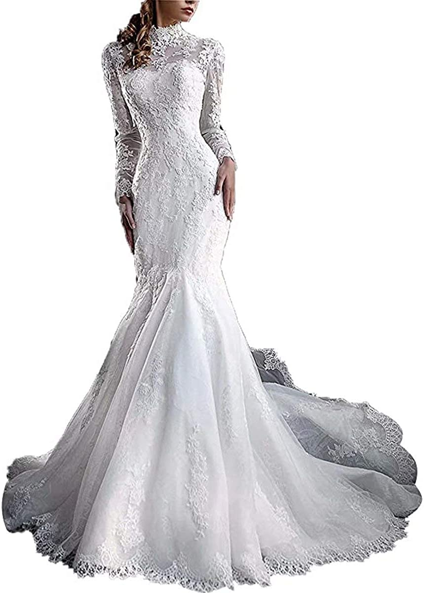 Amazon Com Yuxin Women S High Neck Lace Mermaid Wedding Dress 2021 Elegant Long Sleeves Appliques Bridal Gowns Clothing Shoes Jewelry