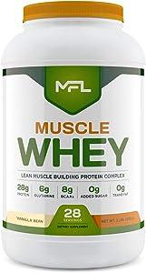 MFL Muscle Whey Protein l 28g of Protein l 8g BCAAs l Keto Friendly l Low Carbs l 2 lbs (Vanilla Bean)