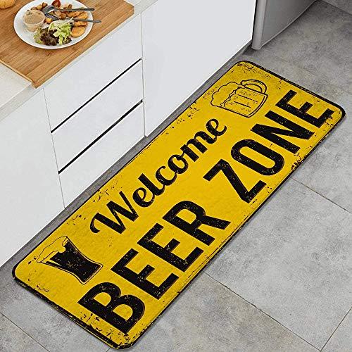 GEEVOSUN Letrero de Metal Oxidado Vintage Divertido Zona de Cerveza de Bienvenida Alfombrillas de Cocina Antideslizantes Felpudo Lavable Juego de Alfombras de Microfibra
