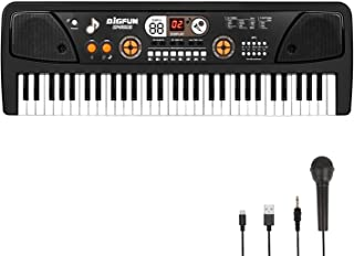 M SANMERSEN 61-Key Kids Keyboard Piano with LCD Screen Music Piano Keyboard with Microphone Electronic Musical Instrument ...