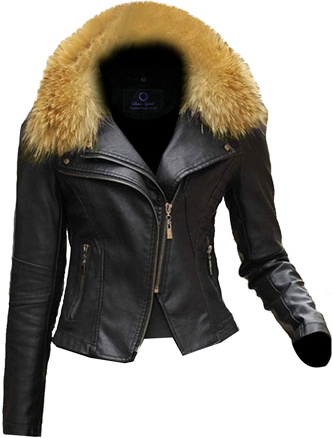 Chase Squad Furry Leather Jacket Women  Short Body Lambskin Leather Jacket with Notch Collar  Furry Jacket