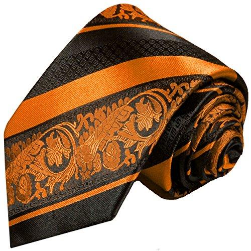 Paul Malone Krawatte 100% Seidenkrawatte orange schwarz