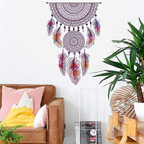 Ecosin Sticker Living Room Bedroom Bathroom Toilet Wall Sticker Home Decal Removable Mural Art Skin Mandala Feather Hanging Decorr
