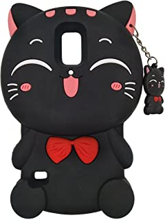 Mulafnxal Case for Samsung Galaxy S5, Samsung i9600 Soft Silicone 3D Cartoon Animal Cover,Kids Girls Child Cute Rubber Kawaii Cases,Character Fashion Protective Protector for SamsungS5 Black Lucy Cat