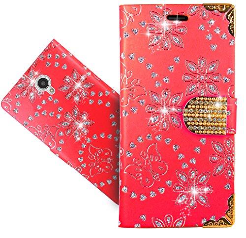 FoneExpert® Wiko U Feel Lite Handy Tasche, Bling Diamant Wallet Hülle Flip Cover Hüllen Etui Hülle Ledertasche Lederhülle Schutzhülle Für Wiko U Feel Lite