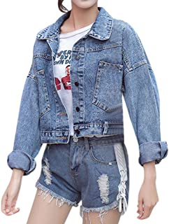 Rosatro Women Jackets Denim Ladies Casual Jean Jacket Comfort Fit Regular Collar Full Sleeves Cowboy Pockets Coat Jacket